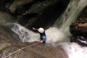 arrivée au pied de la première petite cascade