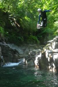saut dans le canyon de Bious